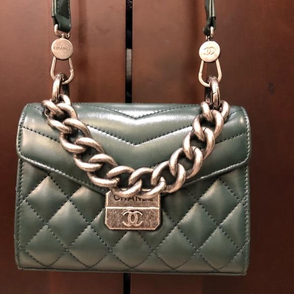 6a4039253ecd CHANEL Bags | Flap Ah With Handle Ruthenium Dark Green | Poshmark
